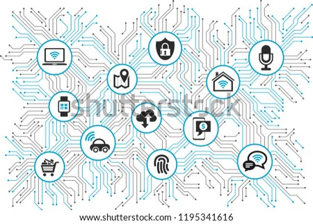 iot devices, connectivity & network in the internet of things – vector illustration