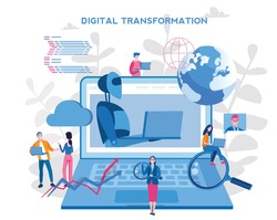 IOT, Digital Transformation, AI technology,  automation and cloud computing. Vector illustration for web banner, infographics, mobile.