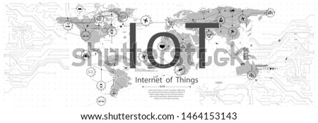 IoT (Internet of things ) or Industry 4.0 (industrial internet) banner. Concept and infographic. Connected devices and objects with business automation flow a white background. landing page template
