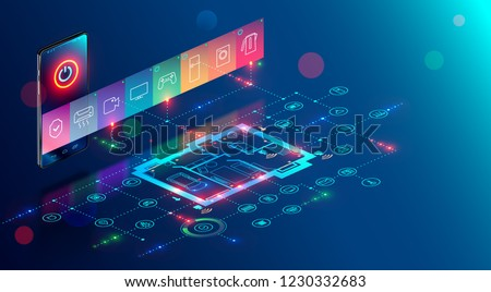 IOT isometric concept. mobile app of smart home controls Internet of things via phone.  House automation system technology.