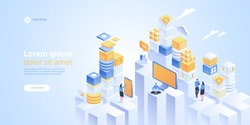 IOT isometric vector concept. Internet of things. Automation system technology. Online devices upload, download information, data in database on cloud services.
