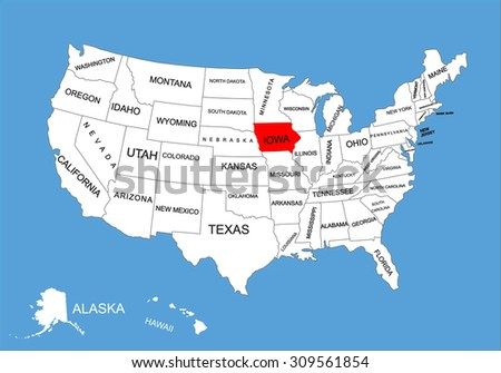 Iowa State Usa Vector Map Isolated On United States Map Editable