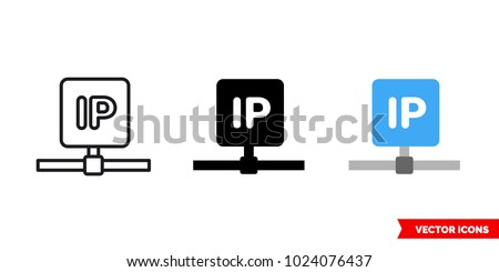 IP icon of 3 types: color, black and white, outline. Isolated vector sign symbol.