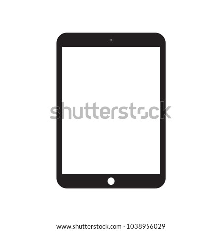 iPad Apple Tablet Vector Flat Icon  Black  Color Style Screen with touch. white background. stock. vector