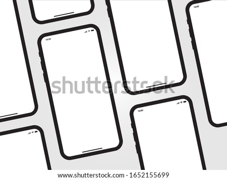 iPhone Black Mobile Mockup isometric Perspective Template Vector Outline Smartphone Device App similar to Samsung Google Pixel Huawei on Grey Background
