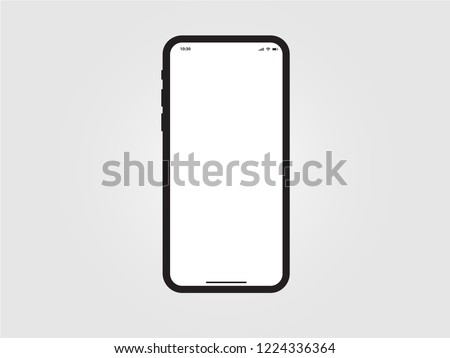 iPhone Black Mobile Mockup Template Vector Outline Smartphone Device App similar to Samsung Google Pixel Huawei on Grey Background