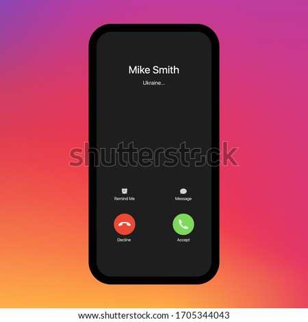 iPhone Call Screen. Interface. Accept Button, Decline Button. Incoming Call. iPhone iOS Call Screen Template. Smartphone, Phone Call Screen Vector Mockup On Gradient Background