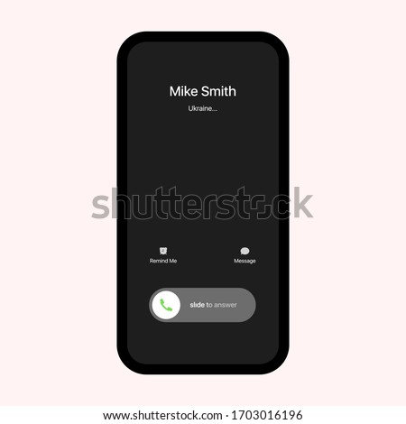 iPhone Call Screen Interface. Slide To Answer. iPhone iOS Call Screen Template. Smartphone, Phone Call Screen Vector Mockup On White Background