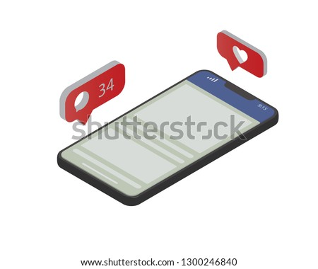 iPhone, Facebook. Social Media theme. Communication in social networks. Image of mobile phone with message icons, likes and subscribers. 3d isometric design.