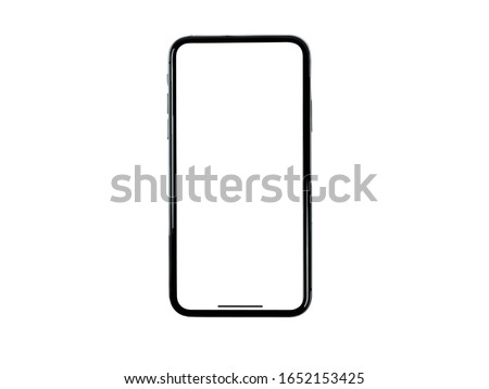 iPhone Realistic Mockup 3D Mobile Phone Vector Template similar to Samsung Smartphone Google Pixel Single Mobile Black App
