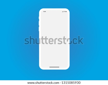 iPhone White Mobile Mockup Template Vector Outline Smartphone Device App similar to Samsung Google Pixel Huawei on Blue Background