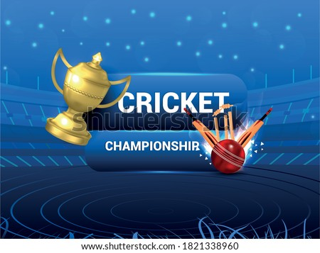 Ipl Cricket tournament concept with stadium, gold trophy and cricket equipment, cricket championship and Background