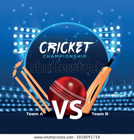 Ipl cricket tournament, cricket match elements with stadium and bat and ball on blue colour background.