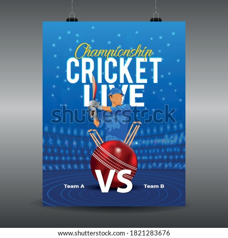 Ipl cricket tournament, cricket match elements with stadium and bat and ball on blue colour background