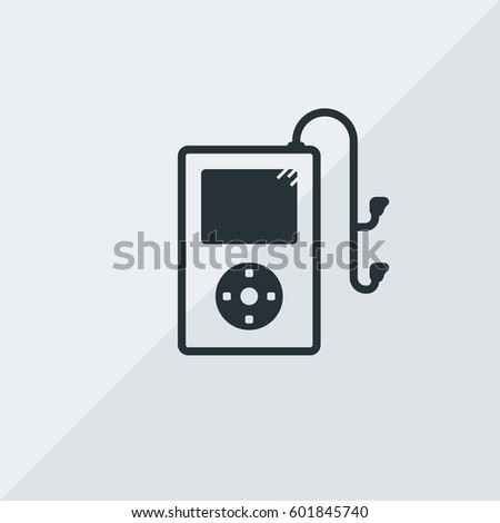 iPod Classic with Earphones Vector Icon, IPod device with headset symbol. Simple, modern flat vector illustration for mobile app, website or desktop app