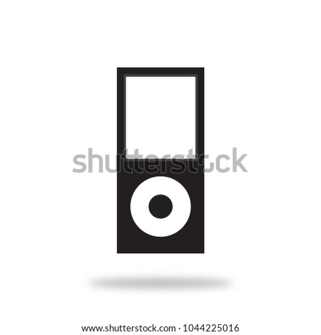 iPod Nano. Apple. Music Player Vector Icon. Black. isolated. flat style.