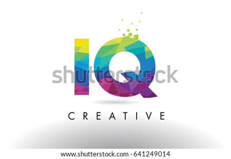 IQ I Q Colorful Letter Design with Creative Origami Triangles Rainbow Vector.