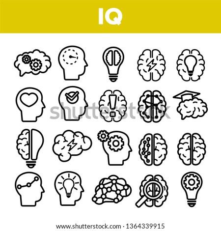 IQ, Intellect Linear Vector Icons Set. Intelligence Coefficient, IQ Thin Line Contour Symbols. Brain Power Pictograms Collection. Genius, Brainstorm. Lightbulb, Human Head Outline Illustrations