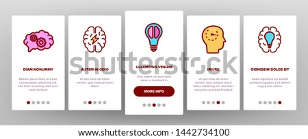 IQ, Intellect Vector Icons Onboarding Mobile App Page Screen. Intelligence Coefficient, IQ Thin Line Contour Symbols. Brain Power Pictograms. Genius, Brainstorm. Lightbulb, Human Head Illustrations