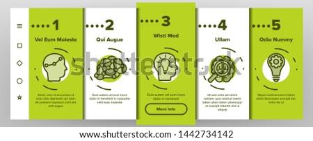 IQ, Intellect Vector Icons Onboarding Mobile App Page Screen. Intelligence Coefficient, IQ Thin Line Contour Symbols. Brain Power Pictograms. Genius, Brainstorm. Lightbulb, Human Head Illustrations