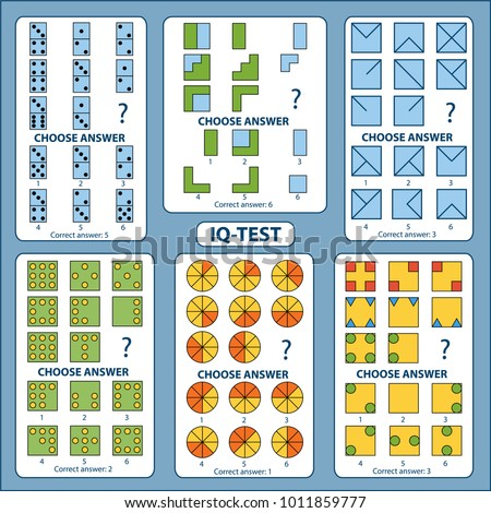 IQ test. Choose correct answer. Set of logical tasks composed of geometric shapes and pieces of domino. Vector illustration