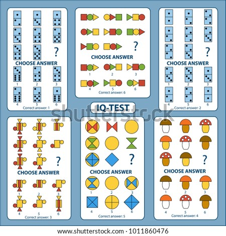 IQ test. Choose correct answer. Set of logical tasks composed of geometric shapes, mushrooms and pieces of domino. Vector illustration
