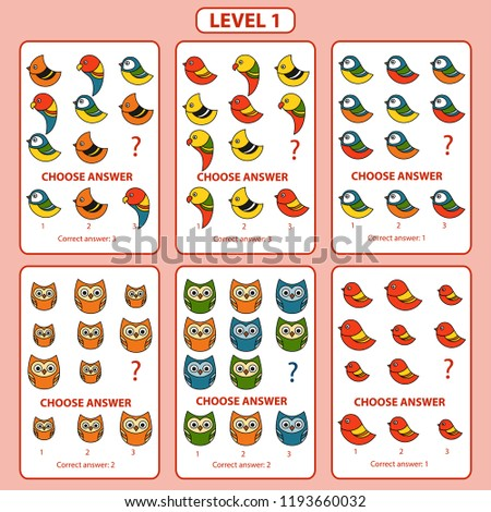 IQ test. Set of tasks for the development of logical thinking of children. Difficulty level 1. Set of logical tasks on the theme of birds. Vector illustration