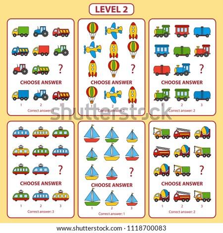 IQ test. Set of tasks for the development of logical thinking of children. Level 2. Set of logical tasks on the theme of transport. Vector illustration
