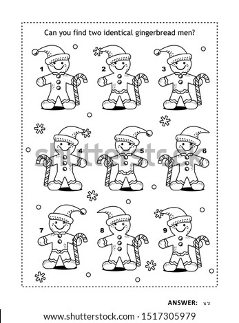 IQ training find the two identical pictures with gingerbread man visual puzzle and coloring page. Answer included.