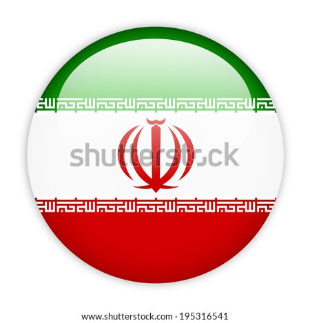 iran flag button on white