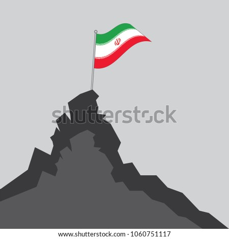 iran flag on the mountain peak