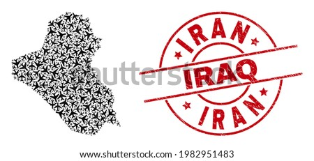 Iran Iraq distress seal stamp, and Iraq map collage of air force items. Collage Iraq map created using aeroplanes. Red seal with Iran Iraq word, and scratched rubber texture.