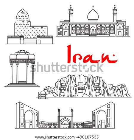 iran landmarks vector thin line