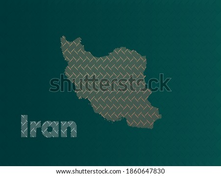 iran map with green and gold