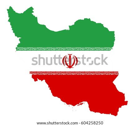 Iran republic flag map.