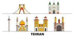 Iran, Tehran flat landmarks vector illustration. Iran, Tehran line city with famous travel sights, skyline, design.
