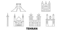 Iran, Tehran line travel skyline set. Iran, Tehran outline city vector illustration, symbol, travel sights, landmarks.