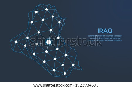 Iraq communication network map. Vector low poly image of a global map with lights in the form of cities. Map in the form of a constellation, mute and stars Photo stock ©