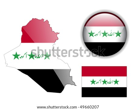 Iraq flag, map and glossy button, vector illustration set. - stock vector
