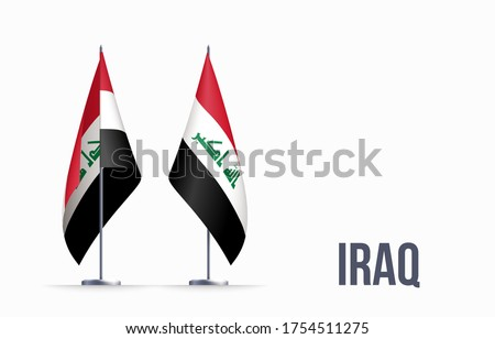 Iraq flag state symbol isolated on background national banner. Greeting card National Independence Day of the Republic of Iraq. Illustration banner with realistic state flag.