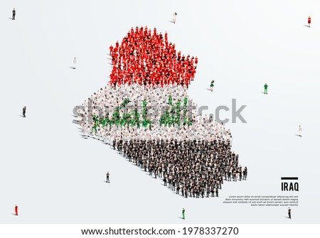 Iraq Map and Flag. A large group of people in the Iraq flag color form to create the map. Vector Illustration.