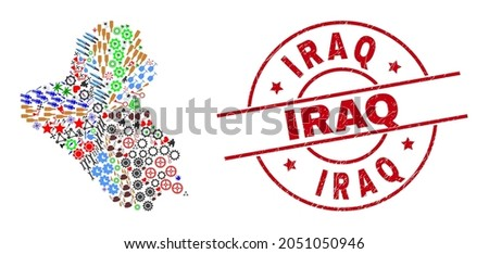 Iraq map collage and rubber Iraq red round stamp. Iraq stamp uses vector lines and arcs. Iraq map collage includes gears, houses, showers, suns, hands, and more icons.