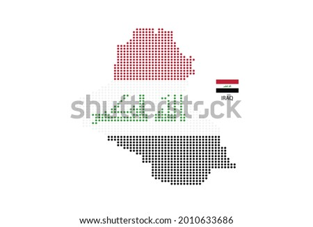 Iraq map design by color of Iraq flag in circle shape, White background with Iraq flag.