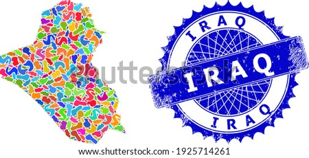 Iraq map flat illustration. Splash collage map and unclean watermark for Iraq. Sharp rosette blue mark with text for Iraq map. Collage vector Iraq map composed with randomized bright splashes.