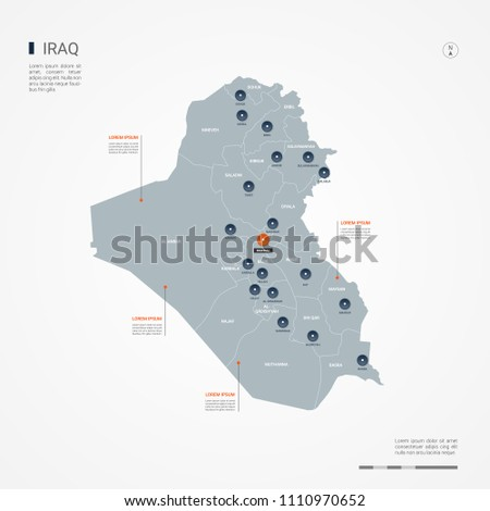 Iraq map with borders, cities, capital Baghdad and administrative divisions. Infographic vector map. Editable layers clearly labeled.
