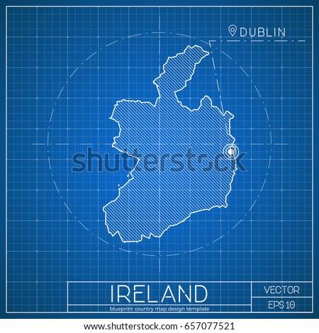ireland blueprint map template