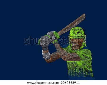 Ireland Cricket Batter In Playing Pose With Line Pattern On Blue Background.