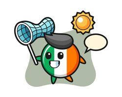 Ireland flag badge mascot illustration is catching butterfly, cute style design for t shirt, sticker, logo element