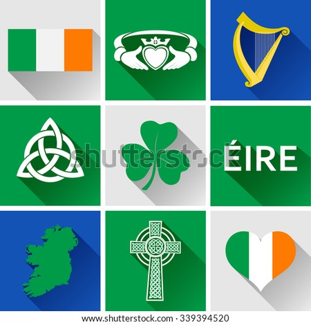 ireland flat icon set vector