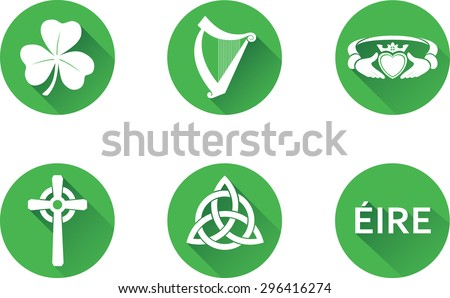 ireland flat icons set set of